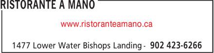Ristorante a Mano (902-423-6266) - Annonce illustrée======= - www.ristoranteamano.ca