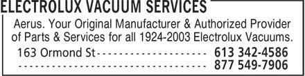 Electrolux Vacuum Services (613-342-4586) - Annonce illustrée======= - Aerus. Your Original Manufacturer & Authorized Provider of Parts & Services for all 1924-2003 Electrolux Vacuums.
