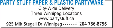 Party Stuff Paper & Plastic Partyware (204-786-8756) - Annonce illustrée======= -