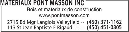 Rona Matériaux (450-438-8880) - Annonce illustrée======= - Bois et matériaux de construction www.pontmasson.com