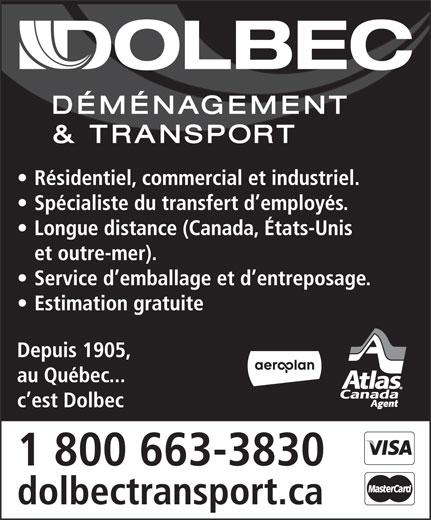 Déménagement & Transport Dolbec (418-687-3830) - Annonce illustrée======= -