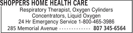 Home Health Care (807-345-6564) - Annonce illustrée======= - Respiratory Therapist, Oxygen Cylinders Concentrators, Liquid Oxygen 24 Hr Emergency Service 1-800-465-3986