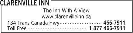 Clarenville Inn (709-466-7911) - Display Ad - The Inn With A View www.clarenvilleinn.ca