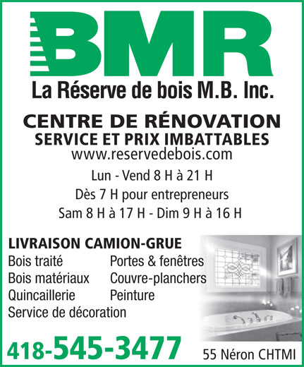 Bmr r serve de bois mb inc 55 rue n ron chicoutimi qc for Porte et fenetre bonneville