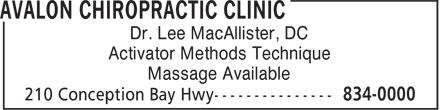 Avalon Chiropractic Clinic (709-834-0000) - Annonce illustrée======= - Massage Available Dr. Lee MacAllister, DC Activator Methods Technique