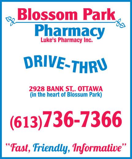BlossomPark Pharmacy (613-736-7366) - Annonce illustrée======= - (in the heart of Blossum Park) (in the heart of Blossum Park)