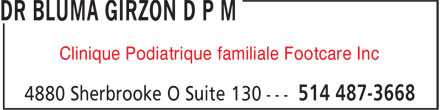 Clinique Podiatrique Familiale Footcare Inc (514-487-3668) - Annonce illustrée======= - Clinique Podiatrique familiale Footcare Inc