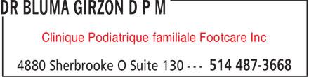Clinique Podiatrique Familiale Footcare Inc (514-487-3668) - Annonce illustrée======= - Clinique Podiatrique familiale Footcare Inc