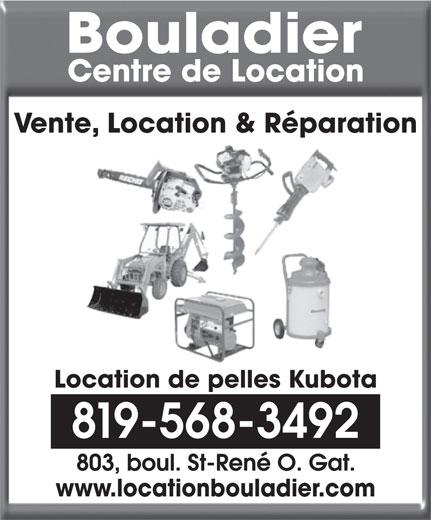 Bouladier Centre de Location (819-568-3492) - Annonce illustrée======= - Location de pelles Kubota 819-568-3492 www.locationbouladier.com Vente, Location & Réparation
