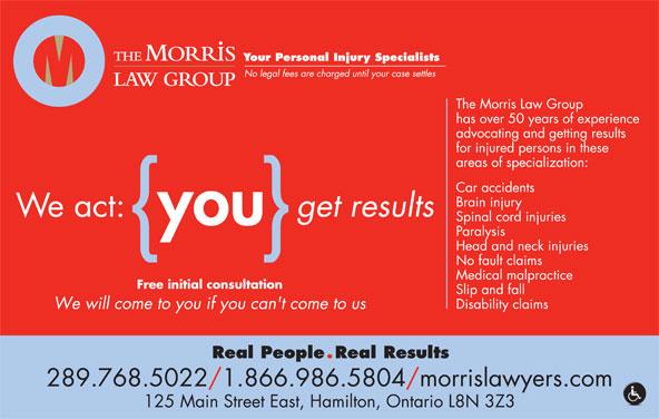 Morris Law Offices (905-526-8080) - Annonce illustrée======= - 289.768.5022/1.866.986.5804/morrislawyers.com