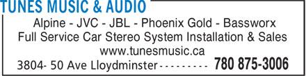 Tunes Music & Audio (780-875-3006) - Annonce illustrée======= - Full Service Car Stereo System Installation & Sales www.tunesmusic.ca Alpine - JVC - JBL - Phoenix Gold - Bassworx