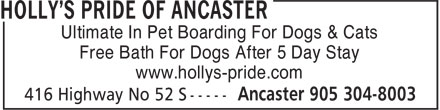 Holly's Pride Of Ancaster (905-304-8003) - Display Ad - Ultimate In Pet Boarding For Dogs & Cats Free Bath For Dogs After 5 Day Stay www.hollys-pride.com Ultimate In Pet Boarding For Dogs & Cats Free Bath For Dogs After 5 Day Stay www.hollys-pride.com
