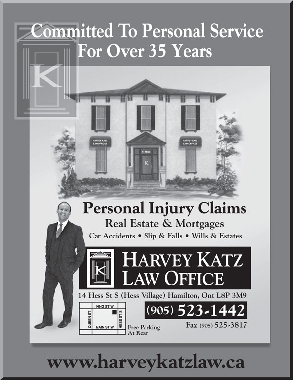 Katz Harvey Law Office (905-523-1442) - Annonce illustrée======= - For Over 35 Years Committed To Personal ServiceCommCmm 905 523-1442 www.harveykatzlaw.ca