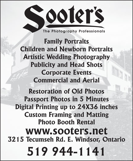 Sooters Photography (519-944-1141) - Display Ad - The Photography Professionals