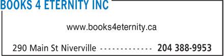 Books 4 Eternity Inc (204-388-9953) - Annonce illustrée======= - www.books4eternity.ca