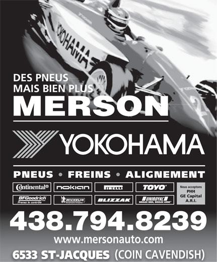 Merson (514-487-5545) - Annonce illustrée======= - 438.794.8239 www.mersonauto.com (COIN CAVENDISH) 6533 ST-JACQUES