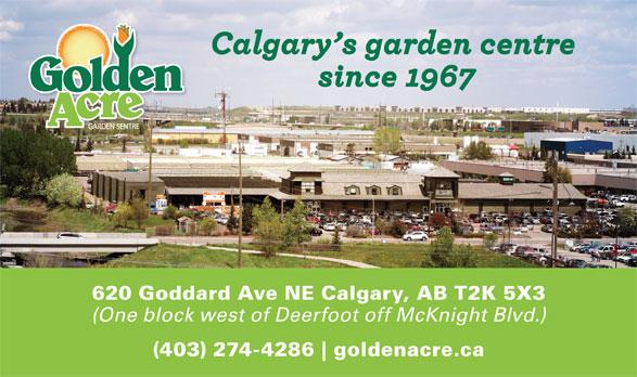 Golden Acre Garden Centre (403-274-4286) - Display Ad - (One block west of Deerfoot off McKnight Blvd.) (403) 274-4286 goldenacre.ca 620 Goddard Ave NE Calgary, AB T2K 5X3