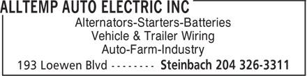 Alltemp Auto Electric (204-326-3311) - Annonce illustrée======= - Alternators-Starters-Batteries Vehicle & Trailer Wiring Auto-Farm-Industry Alternators-Starters-Batteries Vehicle & Trailer Wiring Auto-Farm-Industry