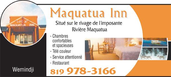 Maquatua Inn (819-978-3166) - Annonce illustrée======= - Wemindji 819 978-3166 Situé sur le rivage de l'imposante Rivière Maquatua - Chambres confortables et spacieuses - Télé couleur - Service attentionné - Restaurant