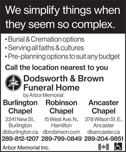 Dodsworth & Brown Funeral Home - Burlington Chapel (289-812-1207) - Annonce illustrée======= -