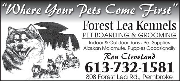 Forest Lea Kennels (613-732-1581) - Annonce illustrée======= - Forest Lea Kennels PET BOARDING & GROOMING Indoor & Outdoor Runs · Pet Supplies Alaskan Malamute, Puppies Occasionally 613-732-1581 808 Forest Lea Rd., Pembroke