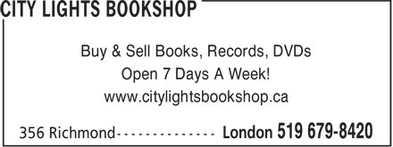 City Lights Bookshop (519-679-8420) - Display Ad -