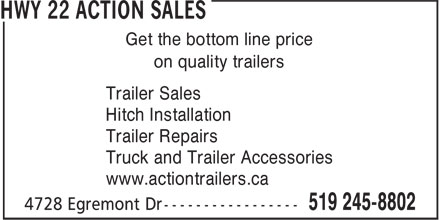 Action Trailer Sales (519-245-8802) - Display Ad - Get the bottom line price on quality trailers Trailer Sales Hitch Installation Trailer Repairs Truck and Trailer Accessories www.actiontrailers.ca Get the bottom line price Hitch Installation Trailer Repairs Truck and Trailer Accessories www.actiontrailers.ca on quality trailers Trailer Sales