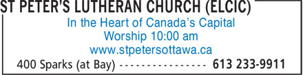 St Peter's Lutheran Church (ELCIC) (613-233-9911) - Annonce illustrée======= - Worship 10:00 am www.stpetersottawa.ca In the Heart of Canada's Capital