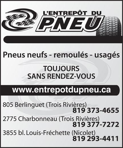 Entrepot Du Pneu (819-373-4655) - Display Ad - www.entrepotdupneu.ca