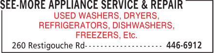 See-More Appliance Service & Repair (506-446-6912) - Annonce illustrée======= - USED WASHERS, DRYERS, REFRIGERATORS, DISHWASHERS, FREEZERS, Etc.