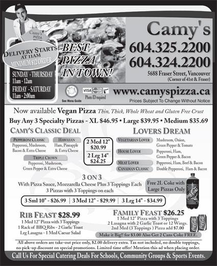 Camy's Pizza (604-324-2200) - Annonce illustrée======= -