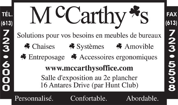 McCarthy's Office Furniture (613-723-6000) - Annonce illustrée======= -
