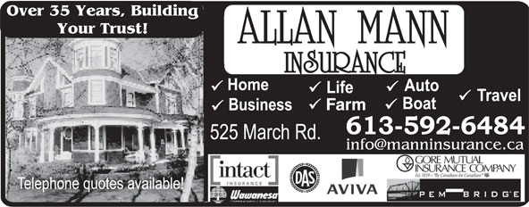 Allan Mann Insurance (613-592-6484) - Display Ad - Over 35 Years, Building Your Trust! Farm