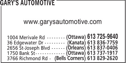 Prime Choice Auto Parts Service (613-725-9640) - Display Ad - www.garysautomotive.com