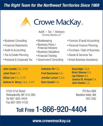 Crowe MacKay LLP (867-920-4404) - Display Ad - PO Box 869 Yellowknife, NT X1A 2N5 Andrew K. Wong C.G.A., C.F.P. Elom Gnanih C.A. John Rankin Ranklin Inlet, NU C.A. 5103 51st Street Tel 867-920-4404 X0C 0G0 Financial Training Government Consulting Personal & Corporate Tax Small Business Assistance John Laratta C.A., C.F.E. Celestino Oh C.A. Greg Edge C.G.A. Brian Steeves C.A. Janet Toner C.A. Fred Deschenes C.A. Jay Palmer B.A. Gillian Lee C.A., C.F.P. Jennifer Larson C.G.A. Jessica St. Arnaud C.A. The Right Team for the Northwest Territories Since 1969 Audit Tax Advisory Formerly MacKay LLP Business Consulting Forensic (Fraud) Accounting Bookkeeping Business Plans / Financial Statements Personal Finance Planning Financial Advisors Audit & Accounting Purchase / Sale of Business Business Valuations Tax & Estate Planning Goods & Services Tax Toll Free 1-866-920-4404 www.crowemackay.ca Fax 867-920-4135
