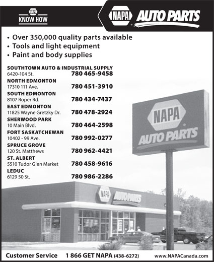 NAPA Auto Parts (780-451-3910) - Display Ad -