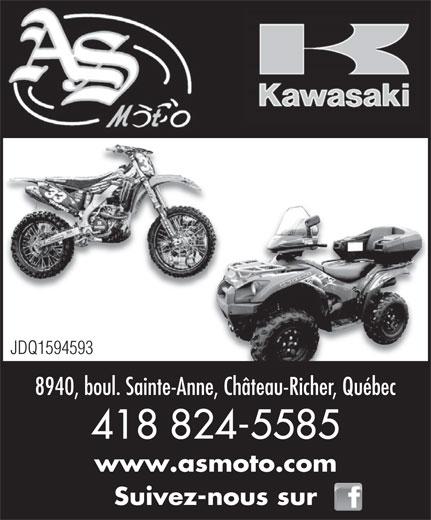 As Moto (418-824-5585) - Annonce illustrée======= - 8940, boul. Sainte-Anne, Château-Richer, Québec 418 824-5585 www.asmoto.com Suivez-nous sur JDQ1594593