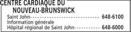 Centre Cardiaque Du Nouveau-Brunswick (506-648-6100) - Annonce illustrée======= -