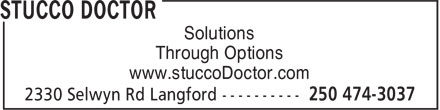 Stucco Doctor (250-474-3037) - Display Ad - Through Options www.stuccoDoctor.com Solutions