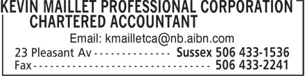 Kevin Maillet Professional Corporation Chartered Professional Accountant (506-433-1536) - Display Ad -