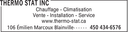 Thermo Stat Inc (450-434-6576) - Annonce illustrée======= -