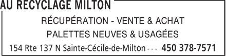Au Recyclage Milton (450-378-7571) - Annonce illustrée======= - RÉCUPÉRATION - VENTE & ACHAT PALETTES NEUVES & USAGÉES RÉCUPÉRATION - VENTE & ACHAT PALETTES NEUVES & USAGÉES