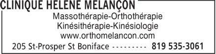 Melancon Hélène Ortho-Massothérapeute (819-535-3061) - Annonce illustrée======= - www.orthomelancon.com Kinésithérapie-Kinésiologie Massothérapie-Orthothérapie