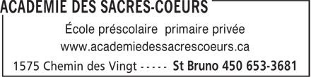 Académie des Sacrés-Coeurs (450-653-3681) - Annonce illustrée======= - École préscolaire primaire privée www.academiedessacrescoeurs.ca