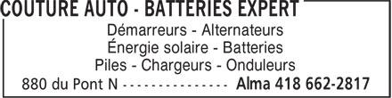 Couture Auto - Survolte Énergie (418-662-2817) - Annonce illustrée======= - Démarreurs - Alternateurs Énergie solaire - Batteries Piles - Chargeurs - Onduleurs