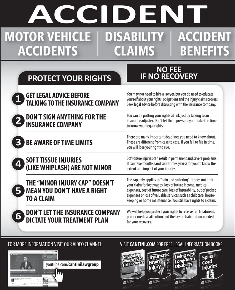 Cantini Law Group (506-867-2529) - Annonce illustrée======= - MOTOR VEHICLE ACCIDENTDISABILITY ACCIDENTS BENEFITSCLAIMS