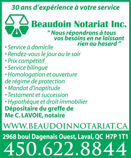 Beaudoin & Lavoie Notaires Inc (450-622-8844) - Display Ad -