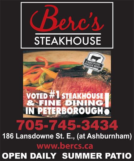 Berc's Steak House (705-745-3434) - Annonce illustrée======= - www.bercs.ca VOTED STEAKHOUSE & FINE DINING IN PETERBOROUGH 705-745-3434 #1