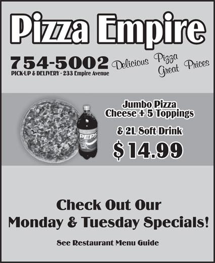 Pizza Empire (709-754-5002) - Annonce illustrée======= -