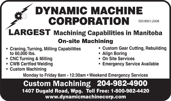 Dynamic Machine Corporation (204-982-4900) - Display Ad -
